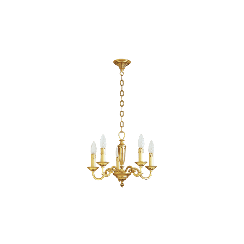 Lucien Gau Louis XVI gold bronze chandelier with five lights 16385