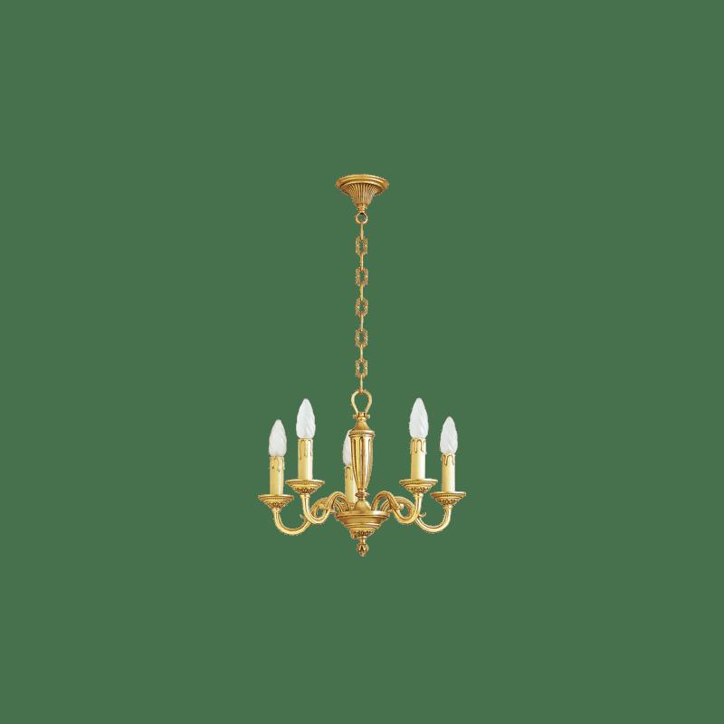 Lucien Gau Lustre en bronze doré Louis XVI à cinq lumières 16385