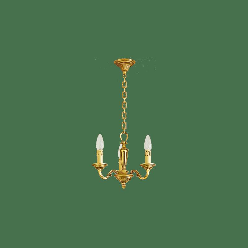 Lucien Gau Louis XVI golden bronze chandelier with three lights 16383