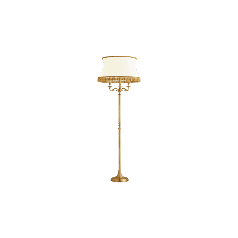 Lucien Gau Louis XVI bronze lamp with three lights with white lamp shade 16833 ter