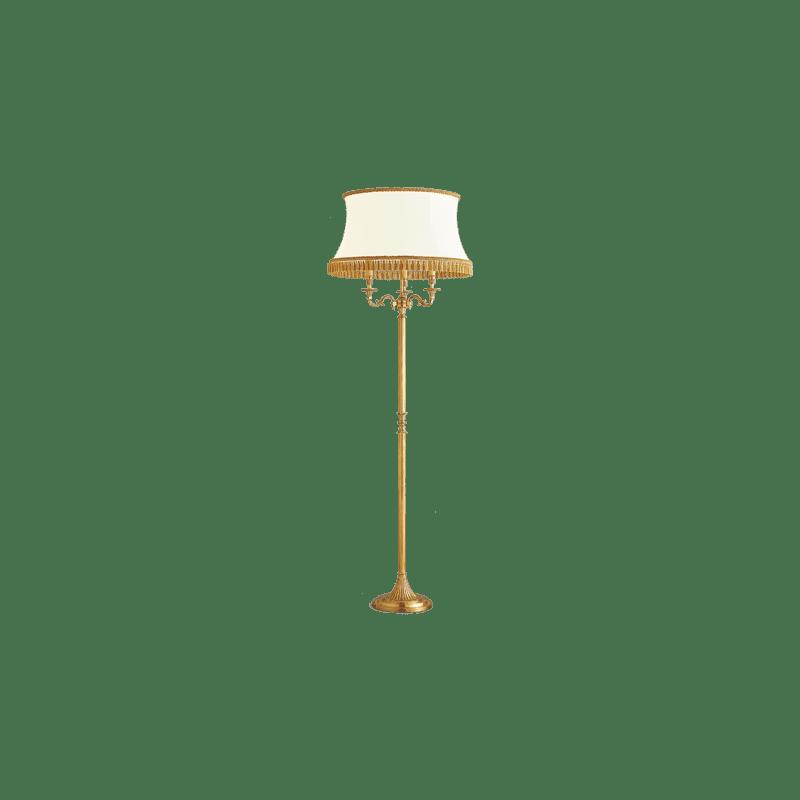 Lucien Gau Louis XVI Stehlampe aus Bronze mit drei Lichtpunkten und weißem Lampenschirm 16833 ter