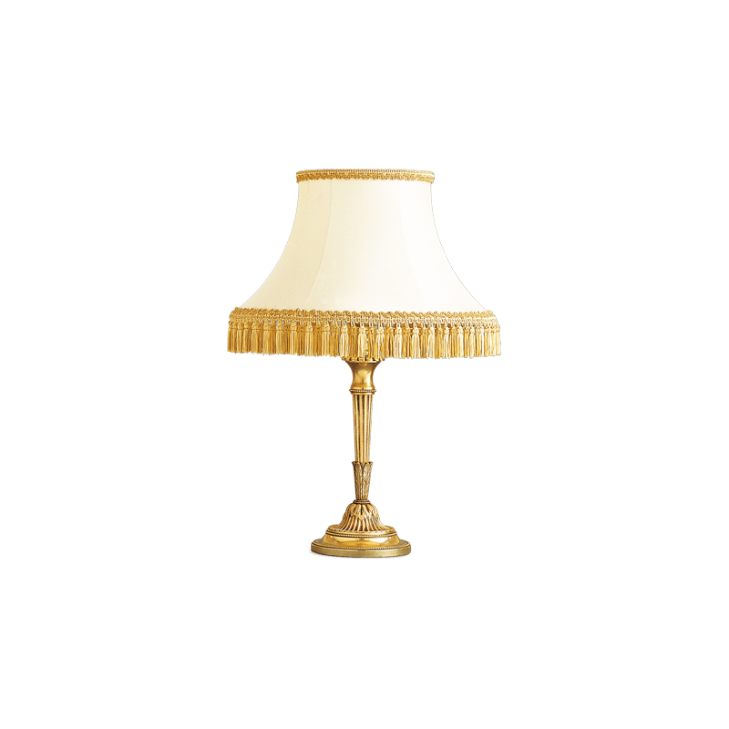 Lucien Gau Louis XVI Tischlampe mit weißem Schirm mit Goldgeflecht 16131