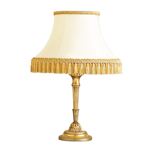Lucien Gau Louis XVI table lamp with white shade with gold braid 16131