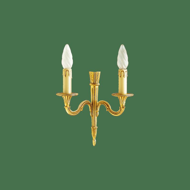 Lucien Gau Louis XVI Wandleuchte aus massiver Bronze mit zwei Lichtern 16422