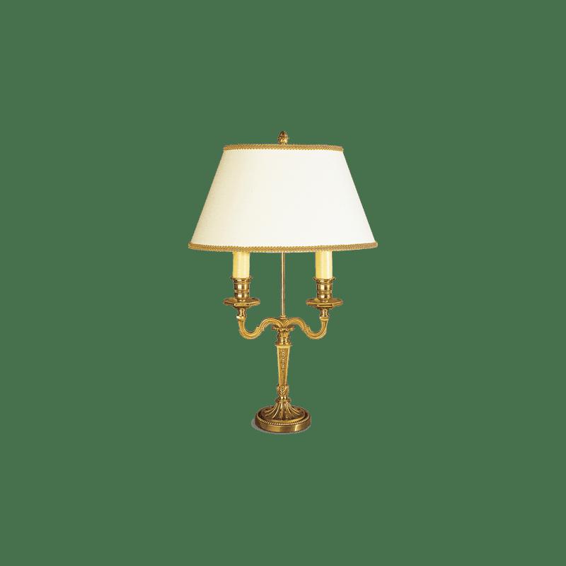 Lucien Gau Lampe de table Louis XVI à deux lumières avec abat-jour 16072 bis
