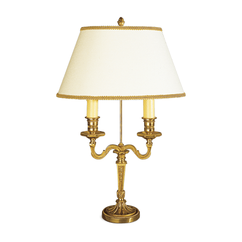Lucien Gau Louis XVI table lamp with two lights with lampshade 16072 bis