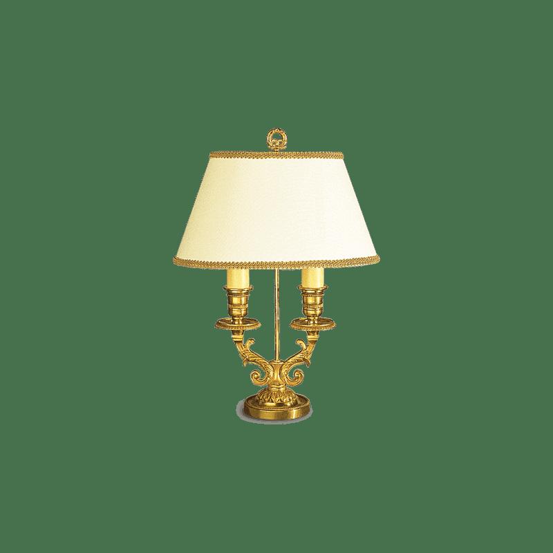 Lucien Gau Louis XVI Tischlampe mit zwei Lichtern mit Lampenschirm 16062