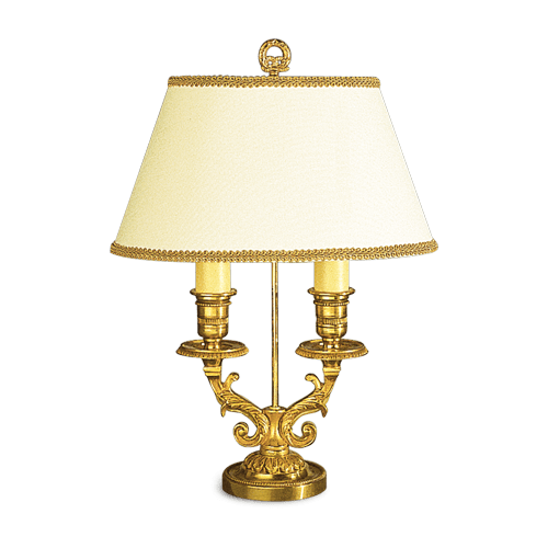Lucien Gau Louis XVI table lamp with two lights with lampshade 16062