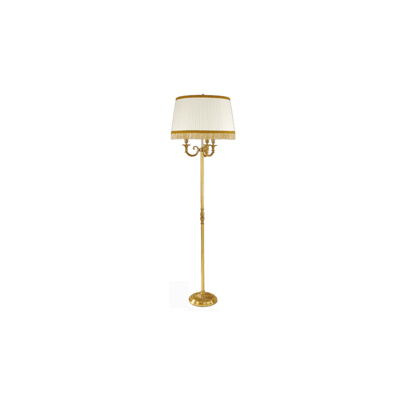 Lucien Gau Louis XVI floor lamp with three lights with lampshade 16696