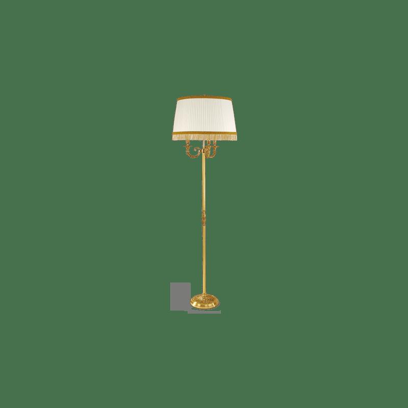 Lucien Gau Louis XVI Stehlampe mit drei Lichtern mit Lampenschirm 16696