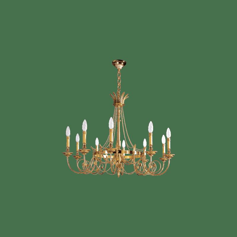 Lucien Gau Bronze Kronleuchter Ten Lights Directoire 16726/10