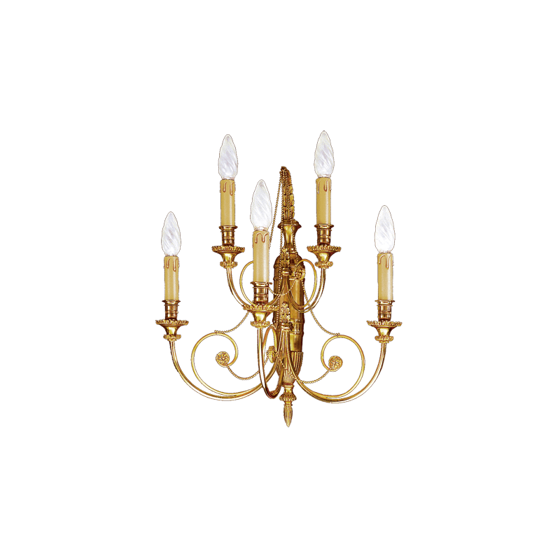 Lucien Gau Directoire style solid bronze wall lamp with five lights 16725
