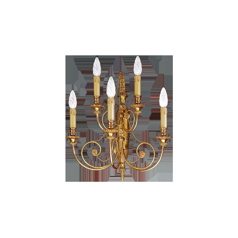 Lucien Gau Directoire Wandleuchte massiver Bronze fünf Lichtern 16725