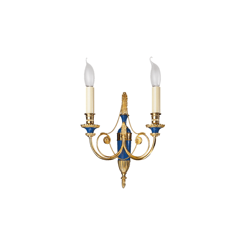 Lucien Gau Gold-plated bronze wall lamp Two-light Directoire 16722 bis