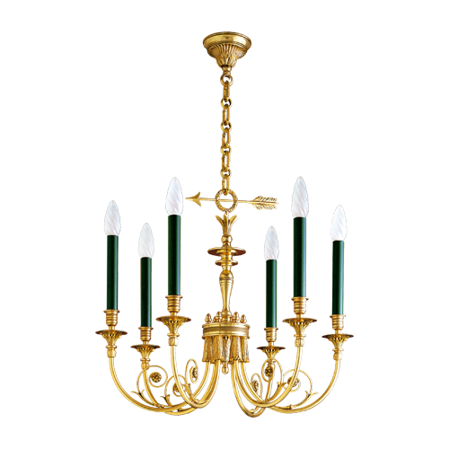 Lucien Gau Directoire style solid bronze chandelier with six lights 17606