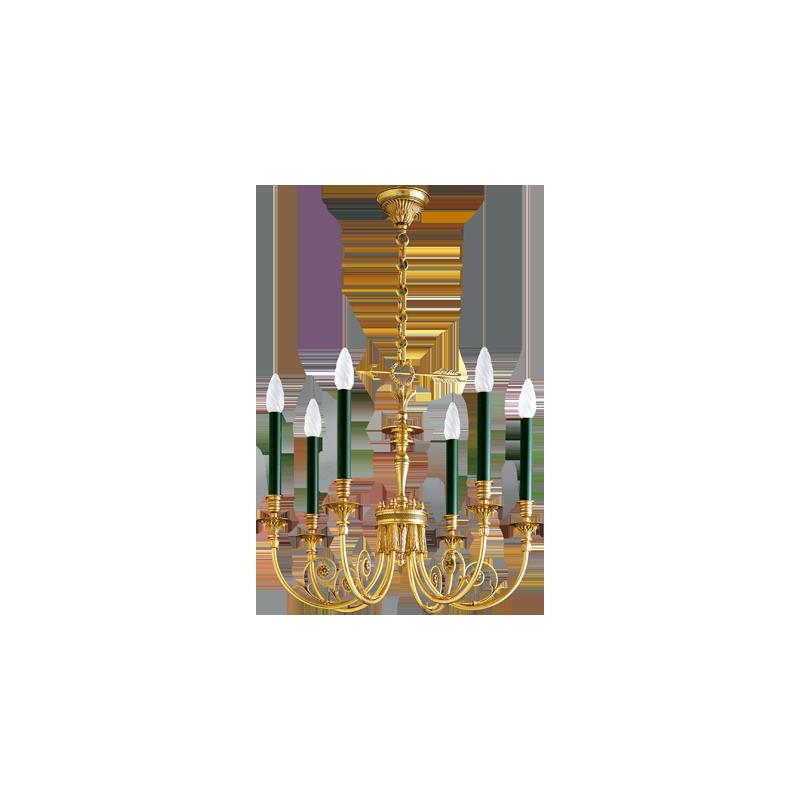 Kronleuchter aus massiver Bronze Lucien Gau mit sechs Lichtern 17606 Directoire