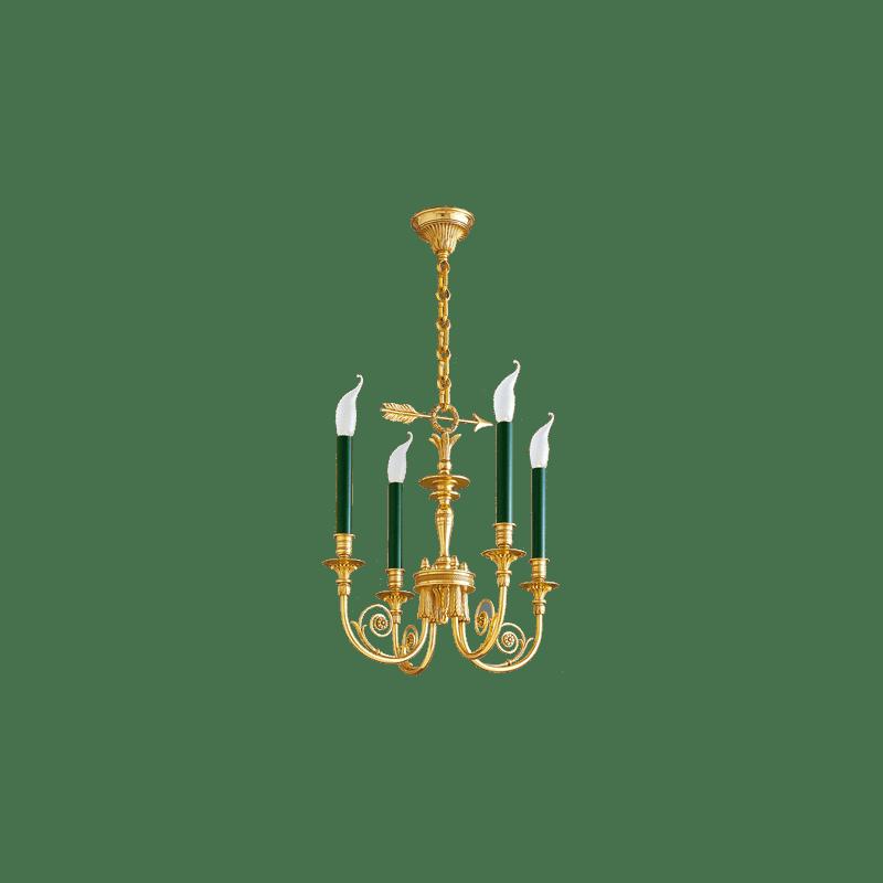 Lucien Gau Bronze Kronleuchter Vierbeleuchtetes Directoire 17604