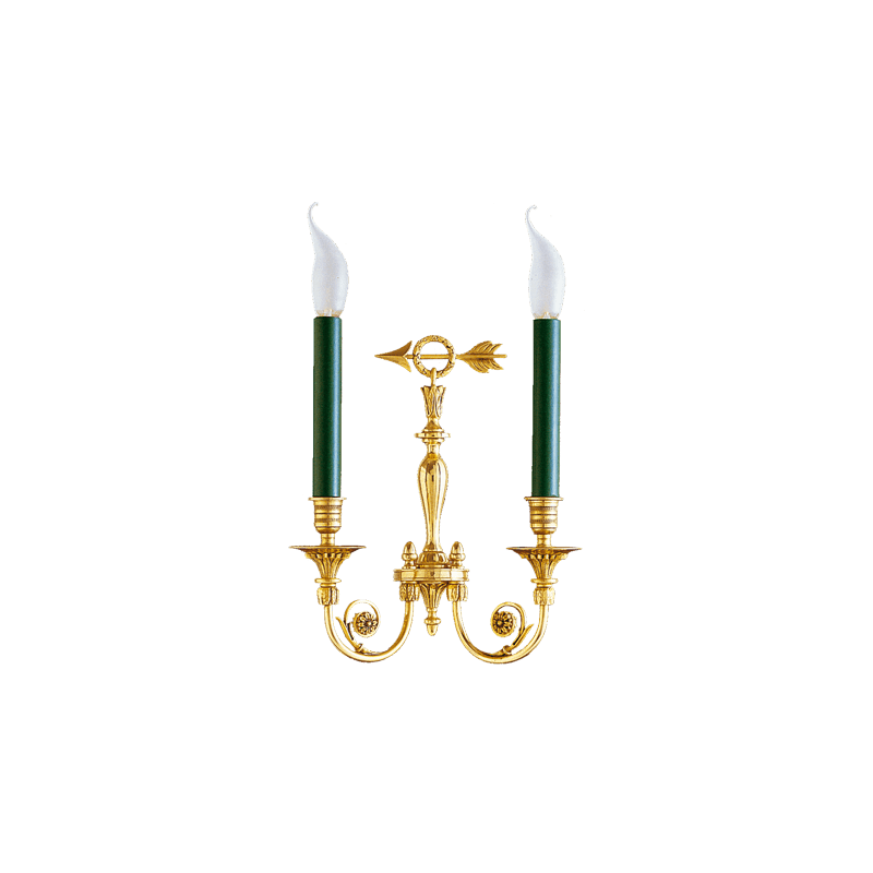 Lucien Gau Wall lamp in gilded solid bronze Directoire with two lights 17602