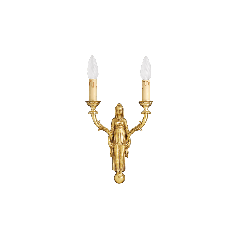 Lucien Gau Solid bronze wall lamp Two-light directional 15672