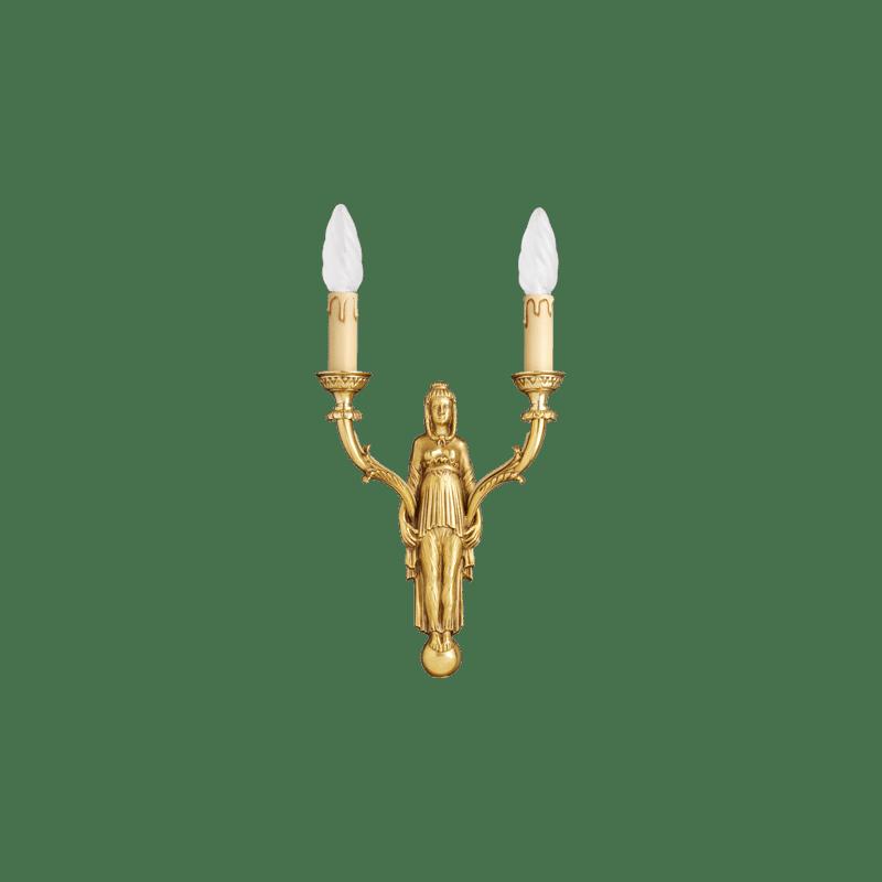 Lucien Gau Wandleuchte aus massiver Bronze Zwei-Licht-Richtungs 15672 Directoire