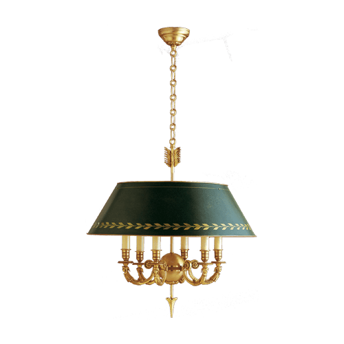 Lucien Gau Directoire chandelier six lights green lampshade 15636 ter