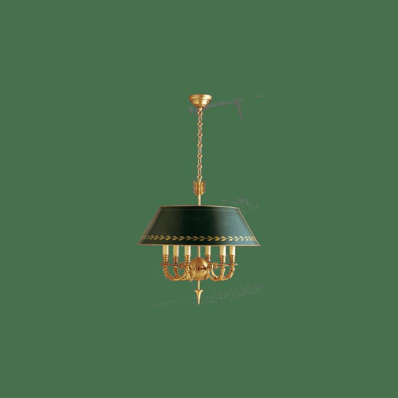Lucien Gau Lustre Directoire six lumières abat-jour vert 15636 ter