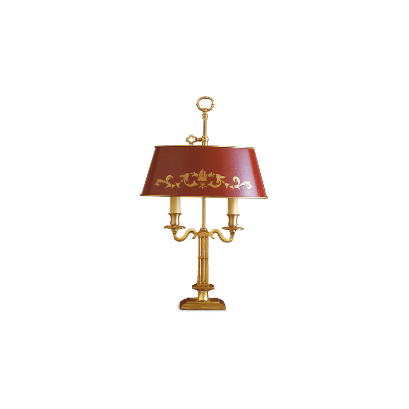 Lucien Gau Directoire table lamp Bouillotte two lights and lampshade 15622