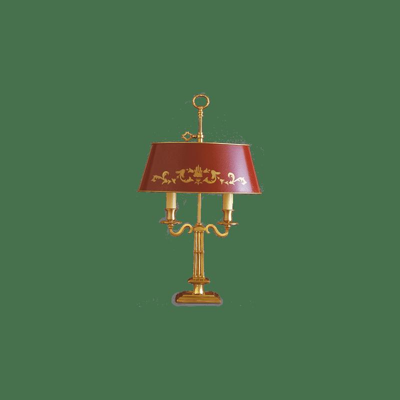 Lucien Gau Lampe de table Bouillotte Directoire deux lumières et abat-jour 15622