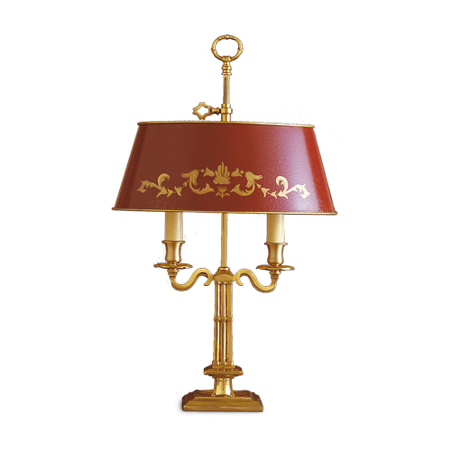 Lucien Gau Directoire table lamp two lights and lampshade 15622