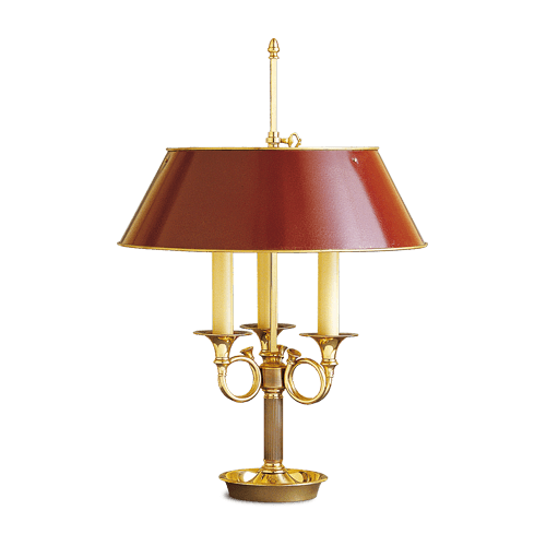 Lucien Gau Directoire lamp Bouillotte with three lights with burgundy red shade 16783 ter