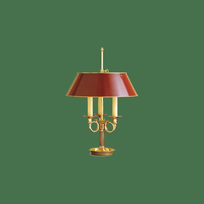 Lucien Gau Lampe Bouillotte Directoire à trois lumières avec abat-jour rouge bordeaux 16783 ter