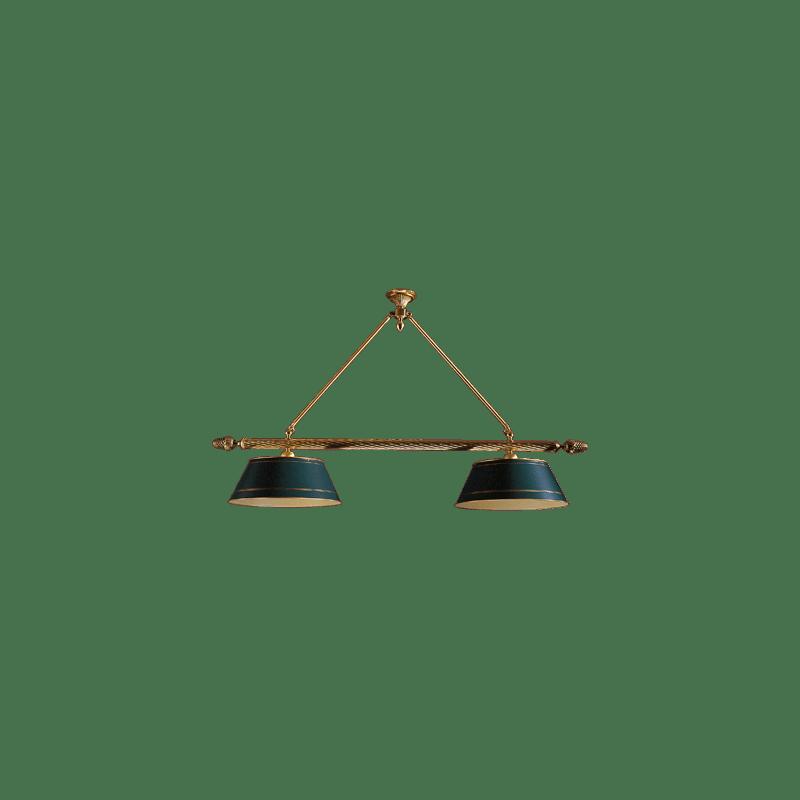 Lucien Gau Directoire Billardlampe mit zwei Lichtern und Lampenschirmen 3112