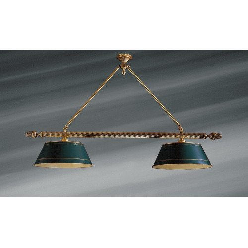 Lucien Gau Directoire billiard lamp with two lights and lampshades 3112