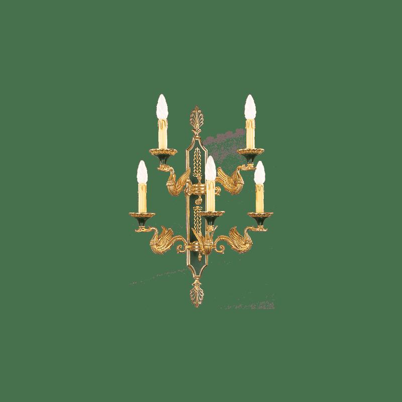 Lucien Gau Applique Empire vieil or et vert à cinq lumières 15035