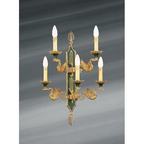 Lucien Gau Old gold and green five-light Empire sconce 15035