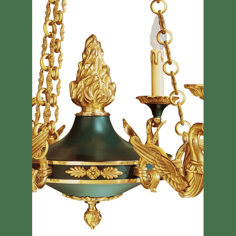 Lucien Gau Lustre en bronze massif de style Empire à six lumières 15056