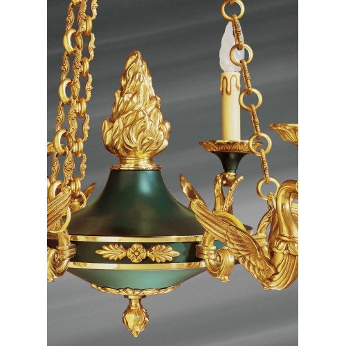 Lucien Gau Empire style solid bronze chandelier at six lights 15056