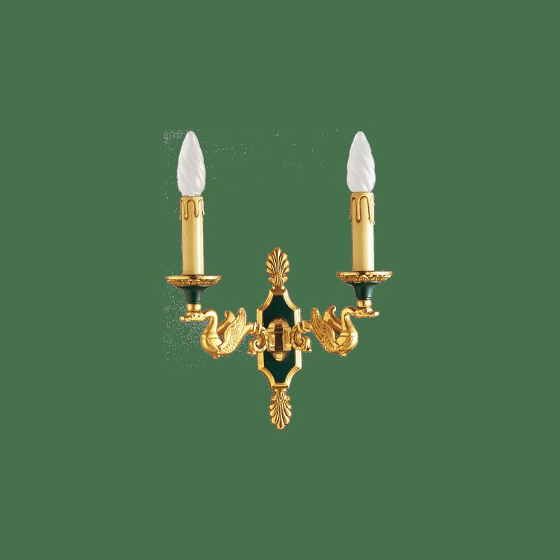 Bronzelampe im Empire-Stil von Lucien Gau mit zwei Lichtern 15002