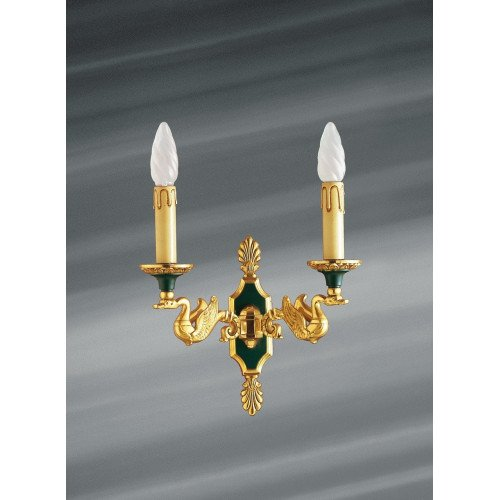 Lucien Gau Empire style bronze lamp with two lights 15002