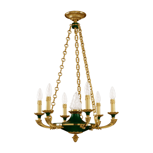 Lucien Gau Empire Style Golden Chandelier with Seven Lights 15307