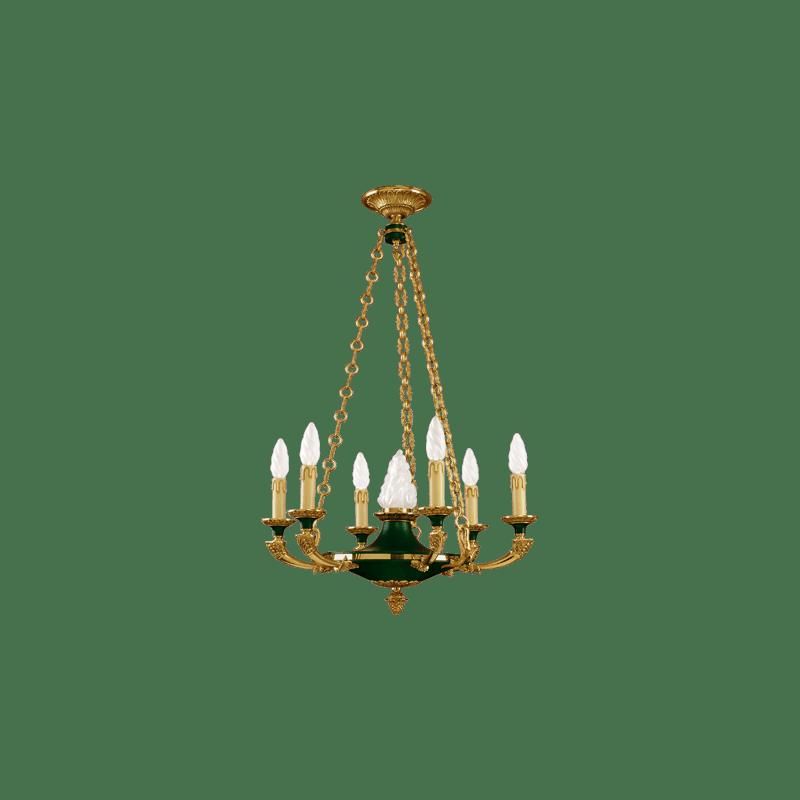 Goldener Kronleuchter im Lucien Gau Empire-Stil mit sieben Lichtern 15307
