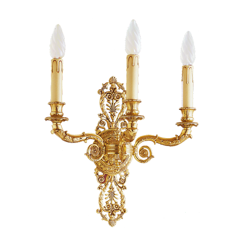 Lucien Gau Empire style bronze sconce with three lights 15063