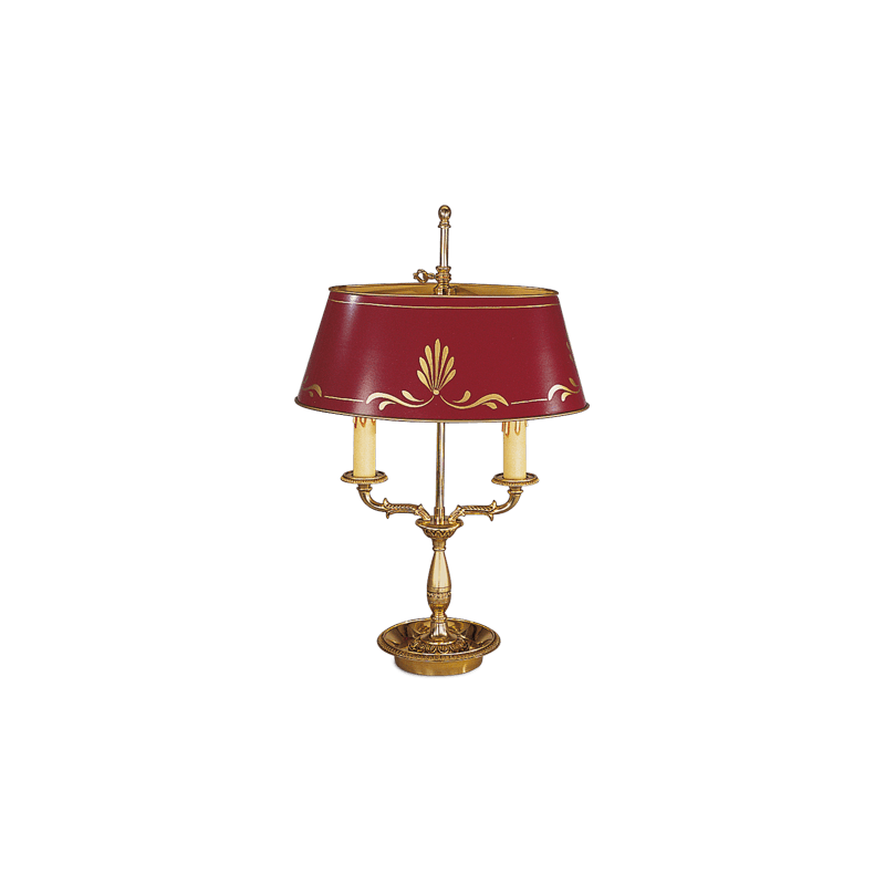 Lucien Gau Empire style lamp Bouillotte with two lights and lampshade 15342