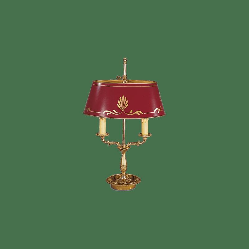 Lucien Gau Lampe Bouillotte de style Empire à deux lumières avec abat-jour 15342
