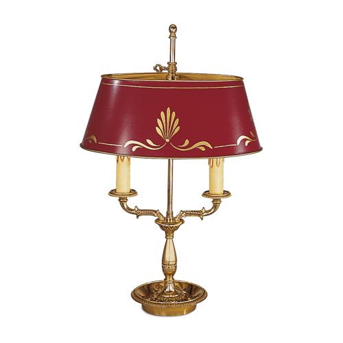 Lucien Gau Empire style lamp with three lights and lampshade 15342