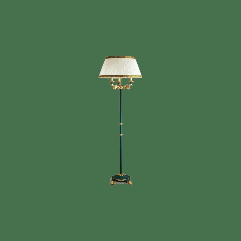 Lucien Gau Empire Stehlampe grün lackiert mit drei Lichtern 15043 ter