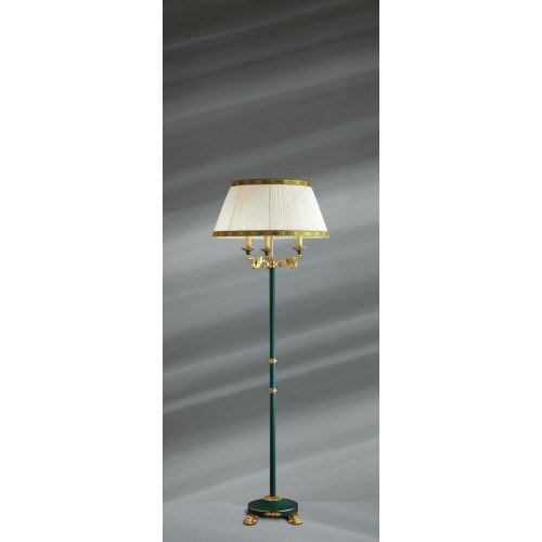 Lucien Gau Empire floor lamp green lacquered with three lights 15043 ter