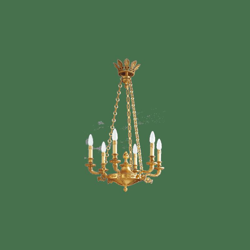 Lucien Gau Lustre en bronze vieil or de style Empire à six lumières 17006