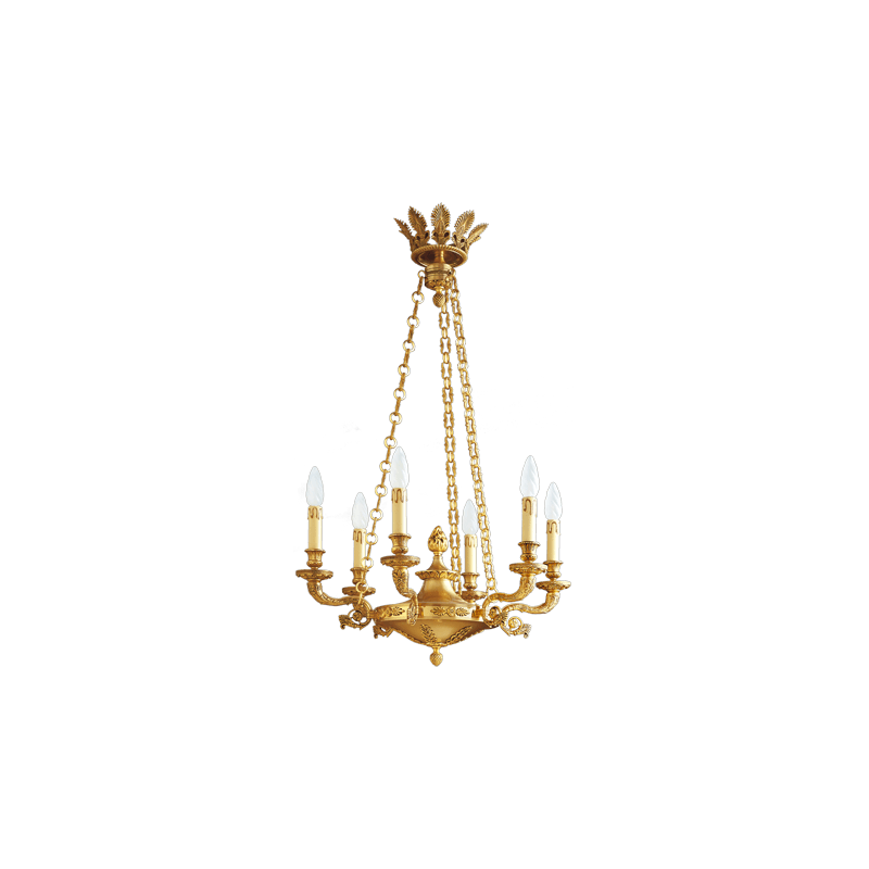 Lucien Gau Six-Light Empire Style Old Gold Bronze Chandelier 17006