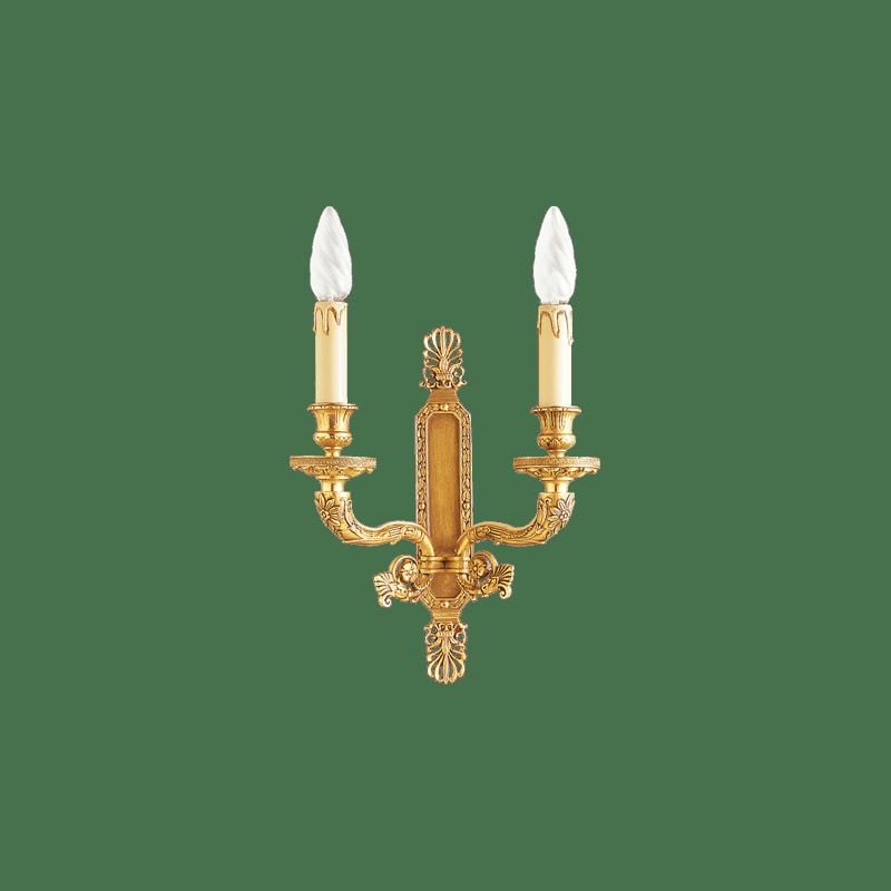 Bronzelampe im Lucien Gau Empire-Stil, zwei Lichter, 17002